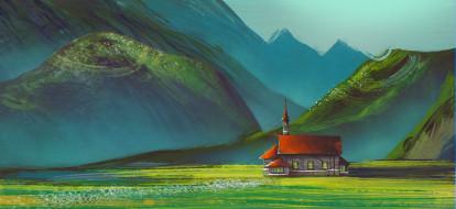 рисованное, природа, горы, здание