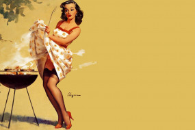 рисованное, gil elvgren, девушка, сарафан, барбекю