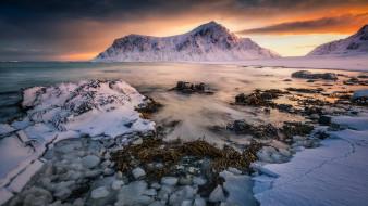 природа, побережье, лофотенские, острова, норвегия