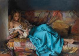 рисованное, живопись, девушка, книга, диван, vicente, romero