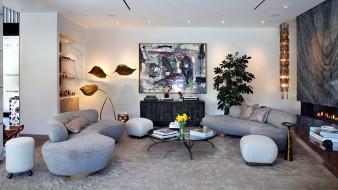 интерьер, гостиная, мягкий, уголок, торшер, картина