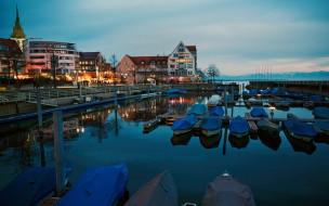 корабли, порты ,  причалы, вечер, лодки, причал