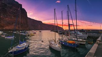 корабли, порты ,  причалы, закат, причал, лодки