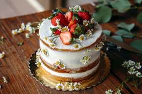 еда, торты, ромашки, торт, клубника