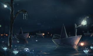 фэнтези, существа, бумажные, кораблики, вода, ночь, фонарь