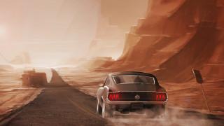 рисованное, авто, мото, ford, mustang, машина, скалы, дорога