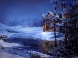 рисованное, природа, зима, снег, ручей, деревья, дом