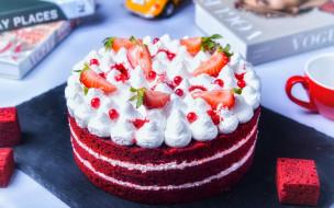 еда, торты, клубника, торт, безе