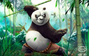 Панда, кунг-фу, шест, бамбук, дом