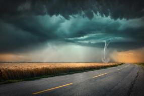 природа, стихия, торнадо, смерч, буря, небо, горизонт, ветер, ураган, бедствие, облака, непогода, дождь, ливень, чёрные