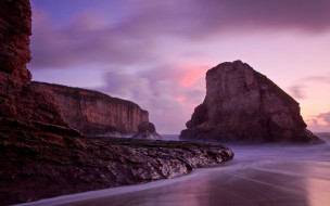 природа, побережье, скалы, море, облака, заря