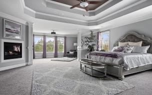 интерьер, спальня, камин, кровать, вентилятор