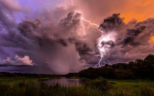 природа, молния,  гроза, раскаты, гром, непогода, гроза, дождь, ливень, облака, тучи, чёрные, проливной, вспышки, свет, стихия, ночь