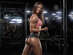 спорт, body building, спортзал, девушка, тренажер, тренировка