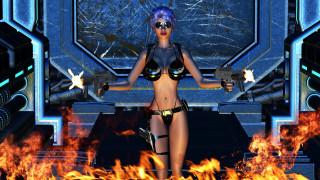 3д графика, фантазия , fantasy, девушка, фон, очки, оружие, купальник