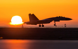 shengyang j-11, китайский истребитель, военный аэродром, закат, вечер, J-11, ввс китая