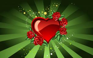обои для рабочего стола 1920x1200 векторная графика, сердечки , hearts, сердца, цветы, розы, лучи, круги, валентинка, любовь
