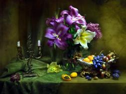 еда, натюрморт, сливы, абрикосы, виноград, лилии, сирень, свечи