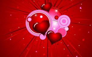 обои для рабочего стола 1920x1200 векторная графика, сердечки , hearts, сердца, лучи, круги, валентинка, любовь