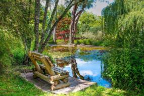природа, парк, пруд, скамейка