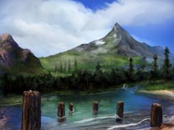 рисованное, природа, горы, лес, река, столбы