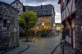 штольберг,  германия, города, - улицы,  площади,  набережные, узкая, улочка, каменные, дома