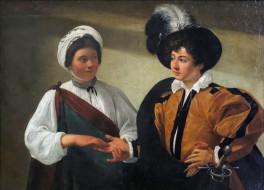 рисованное, caravaggio, женщина, мужчина, гадание