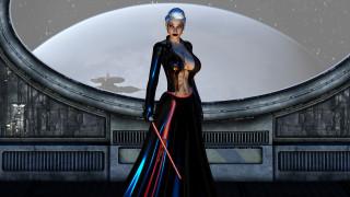 3д графика, фантазия , fantasy, девушка, фон, взгляд, униформа, меч, иллюминатор