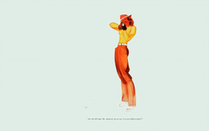 рисованное, alberto vargas, девушка, пин-ап, ружье, шляпа, штаны