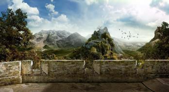 рисованное, природа, горы, долина, птицы, облака, стена, замок