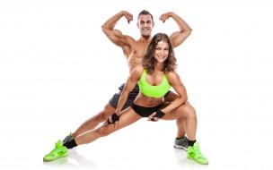 спорт, фитнес, парень, девушка, форма