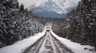 техника, поезда, рождество, лес, поезд, снег, зима