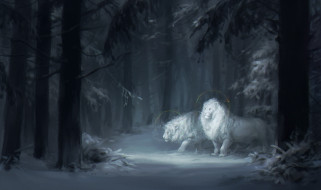 рисованное, животные,  львы, лев, фон, лес, снег, нимб