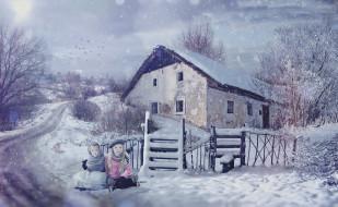 дети, фон, снег, дом