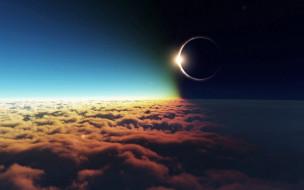 затмение, луна, солнце, космос, спутник, земля, атмосфера, явление, тьма, пространство, вселенная, галактика, облака, вакуум, бесконечность