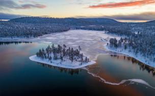 обои для рабочего стола 1920x1200 природа, зима, лапландия, снег, лес, вечер, закат, лед, на, озере, финляндия