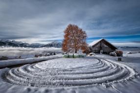 деревня, снег, зима, дом, природа, дерево, горы