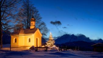 церковь, германия, рождественская елка, ночь