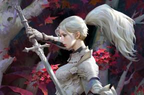 девушка, меч, доспехи, рыцарь