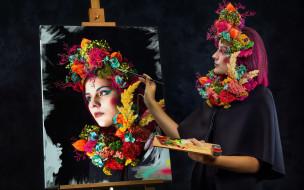 девушки, - креатив,  косплей, художница, портрет, палитра, креатив