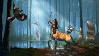 существа, фон, кентавр, лук, стрела