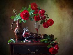 еда, натюрморт, розы, ягоды, клюква