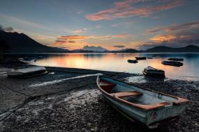 озеро, лодки, закат