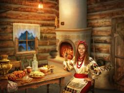 девушка, фон, взгляд, изба, еда, стол, вышиванка