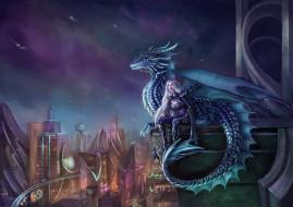 девушка, фон, дракон, город, униформа