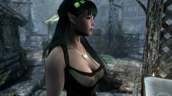 видео игры, the elder scrolls v,  skyrim, девушка, эльфийка, декольте, двор