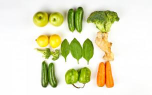 еда, фрукты и овощи вместе, брокколи, морковь, перец, лимон, яблоки