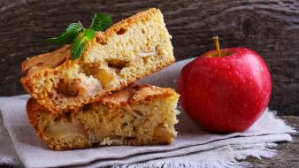 еда, пироги, мята, пирог, яблоко