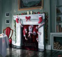 Санта Клаус, монстр, камин