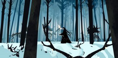аниме, mo dao zu shi, лань, ванцзи, лес, олени, скелеты, снег